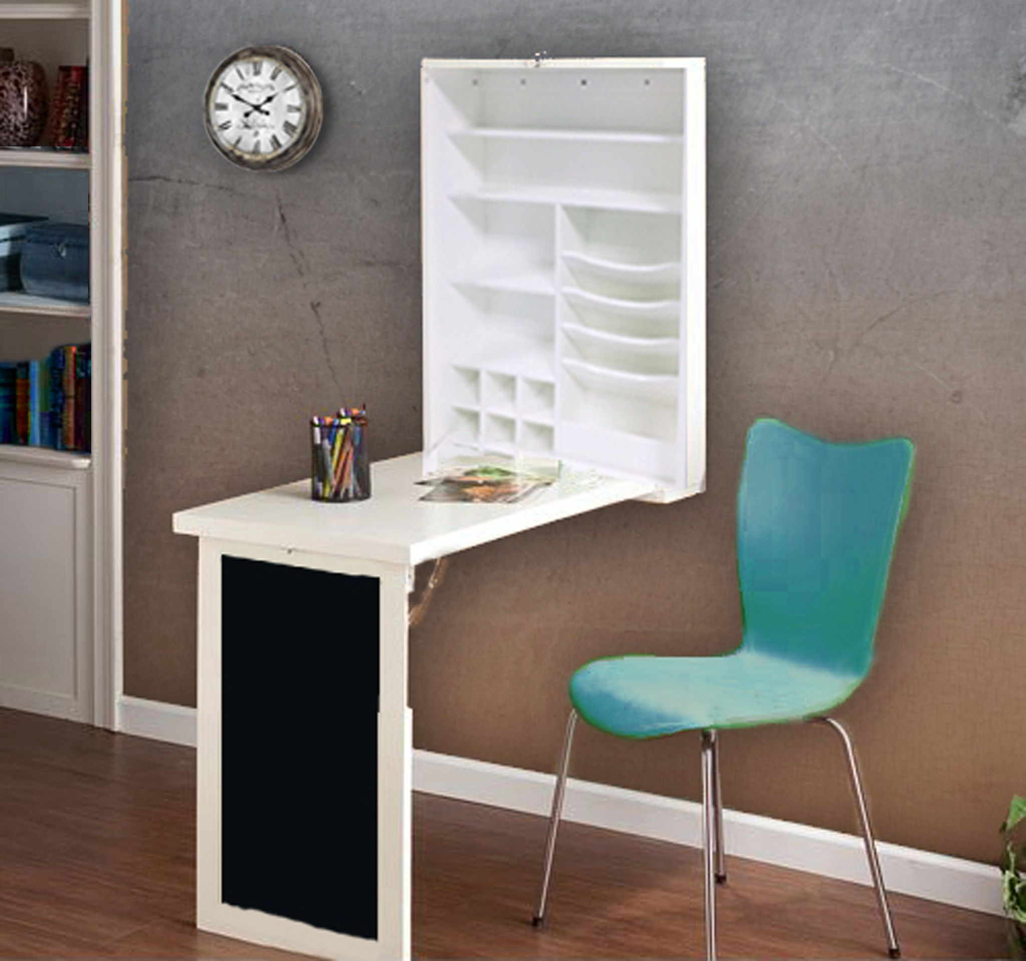 Loft97 Fold Down Desk Table Wall Cabinet With Chalkboard White
