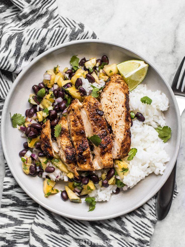 Photo of Jerk Chicken with Pineapple Black Bean Salsa – Budget Bytes