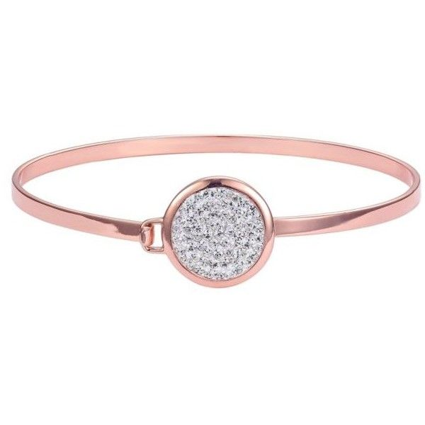 Belk Silverworks Rose Gold Tone Crystal Round Circle Bangle