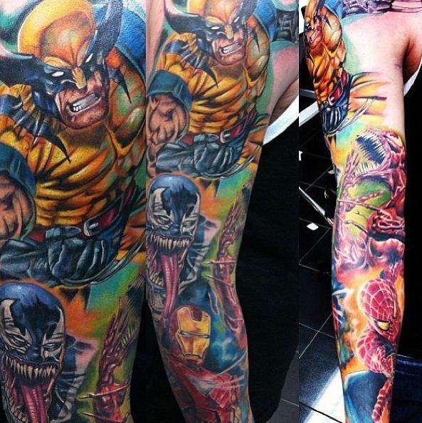 marvel avengers tattoo sleeve marvel tattoos for men ideas and tattoo ideas pinterest. Black Bedroom Furniture Sets. Home Design Ideas