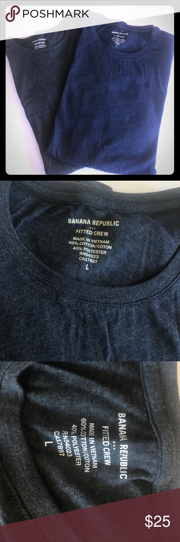 Banana Republic 2 Fitted Crew shirts blue & grey L Men's Banana Republic 2 Fitted Crew shirts blue & grey L Stretchy Super Fitted nice soft material. Banana Republic Shirts Tees - Short Sleeve
