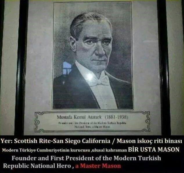 Amerikanın San Diego şehrindeki Iskoç Riti Binasında Mustafa Kemal