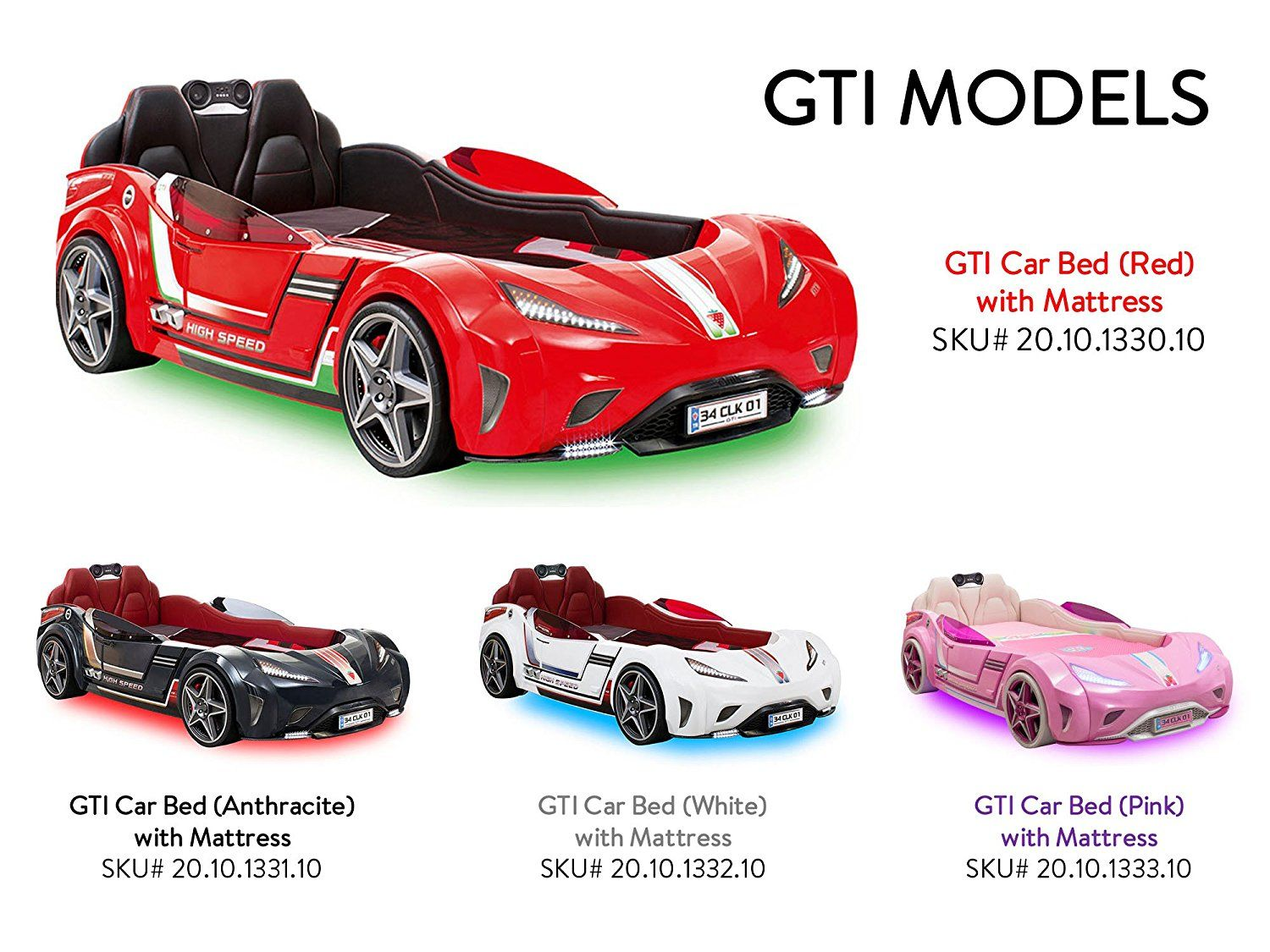 Cilek Kids Room Champion Racer Collection Gti Car Bed With Mattress