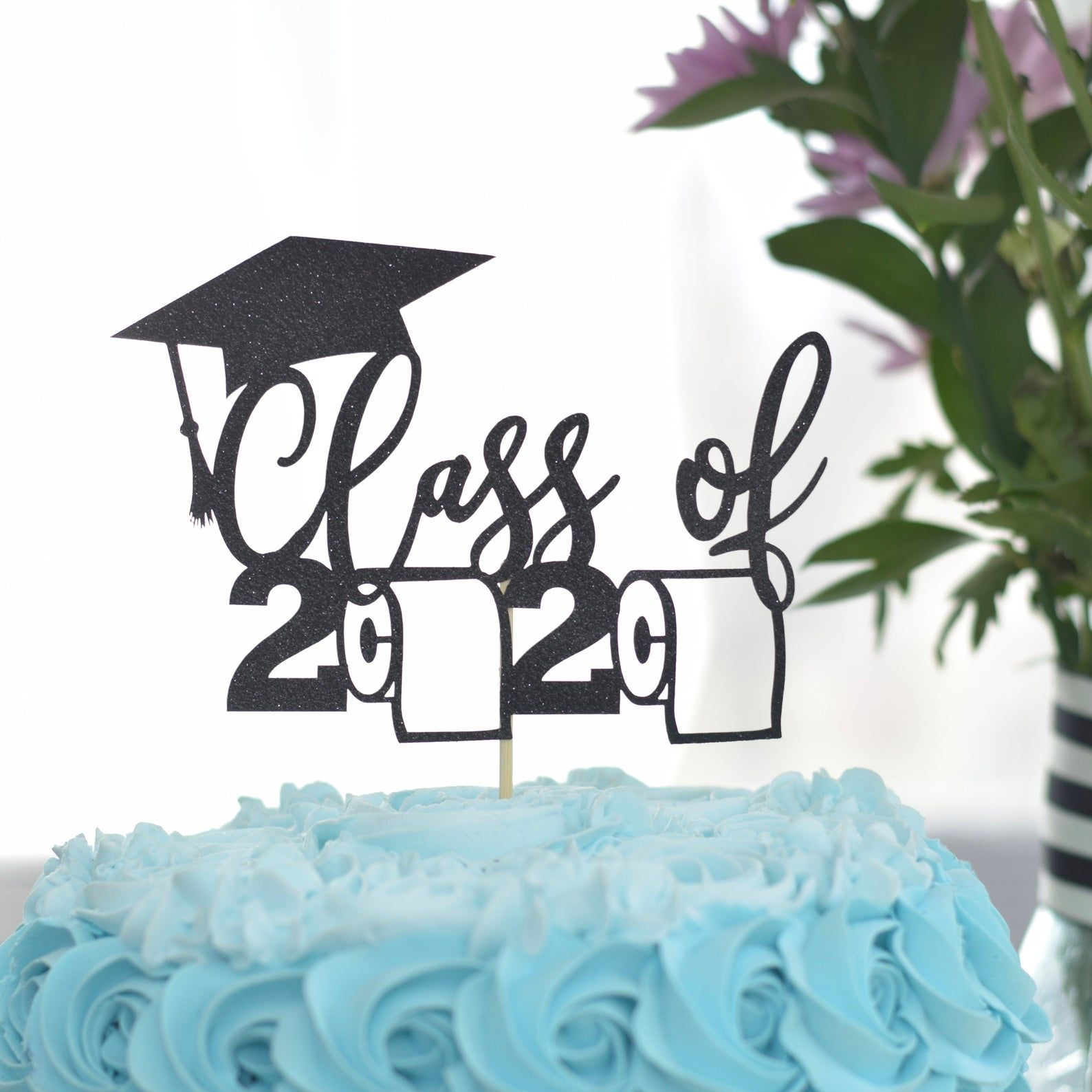 High School College Grad Party Decoration Congrats Grad Black Holy Shit You Did It Cake Topper