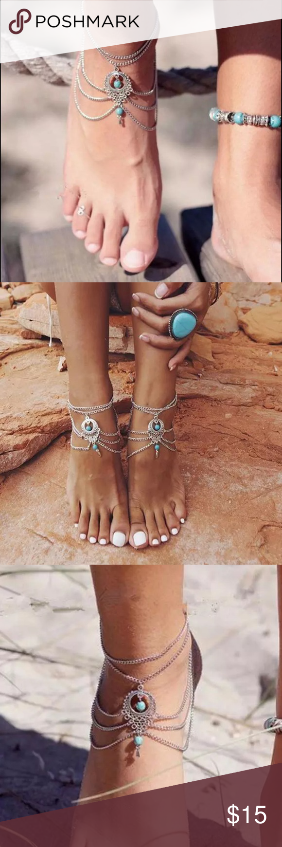 ❗️New❗️Boho Turquoise Barefoot Beach Anklet 100% Brand new and high quality Chain length 22cm+5cm(5cm Extended chain)-Material:Alloy+Turquoise . Color:Antique Silver.- Package Included: 1Pc X Turquoise Tassel Anklet Boutique Jewelry