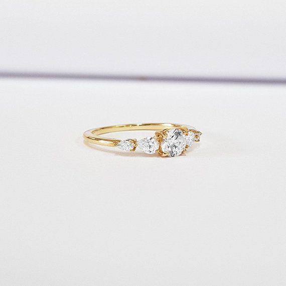 d21be17f8e80dd Diamond engagement ring handmade in rose/white/yellow gold with pear 5 stone  antique inspired