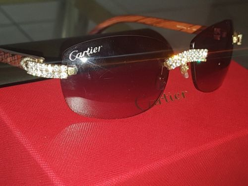 324bf3a82618 Custom Made Authentic Cartier Wood 14k Yellow Gold amp 5 00tcw Diamond  Sunglasses. Wood