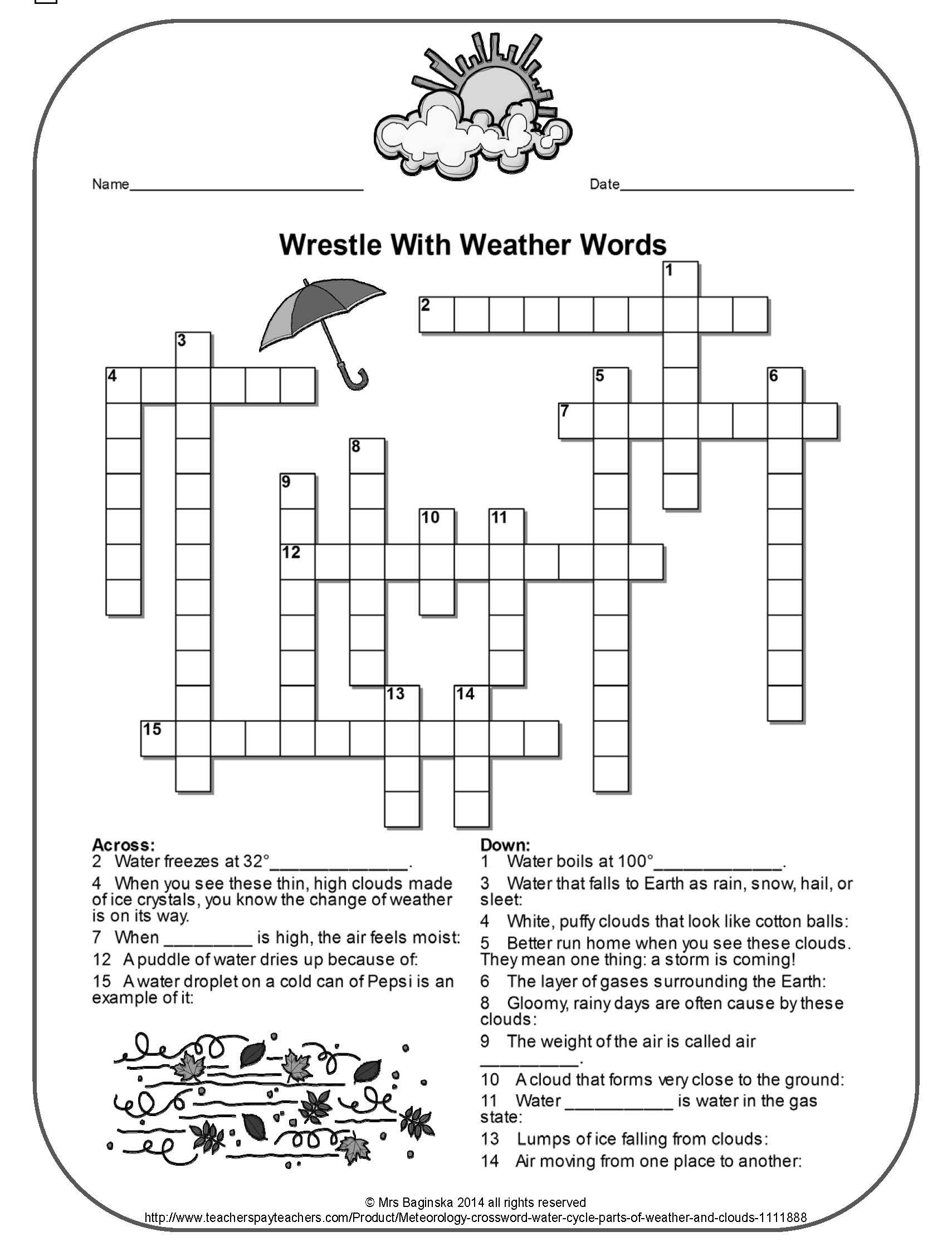 Free Weather Crossword Perfect For The Review Of Important Meteorology Concepts