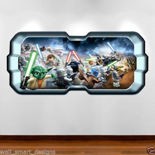Lego Star Wars Yoda Battle Full Colour Wall Art Sticker Decal Boy - Star wars wall decals uk
