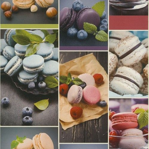 Küchen Tapete Rasch Macarons Kuchen bunt 852806 | Küche ...