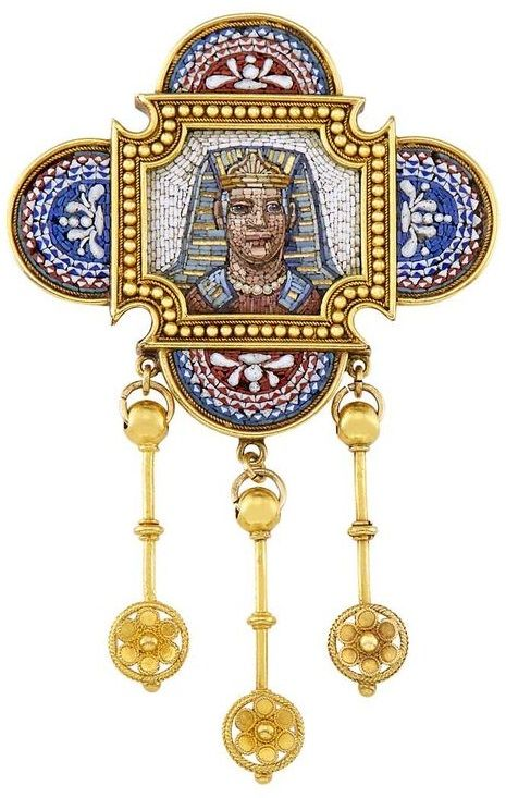 Egyptian Revival Gold and Micromosaic Brooch  Centring a
