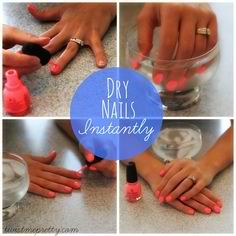 How to Make Your Nail Polish Dry Fast - Dip in ice water when they are semi dry for 15-30 secs.