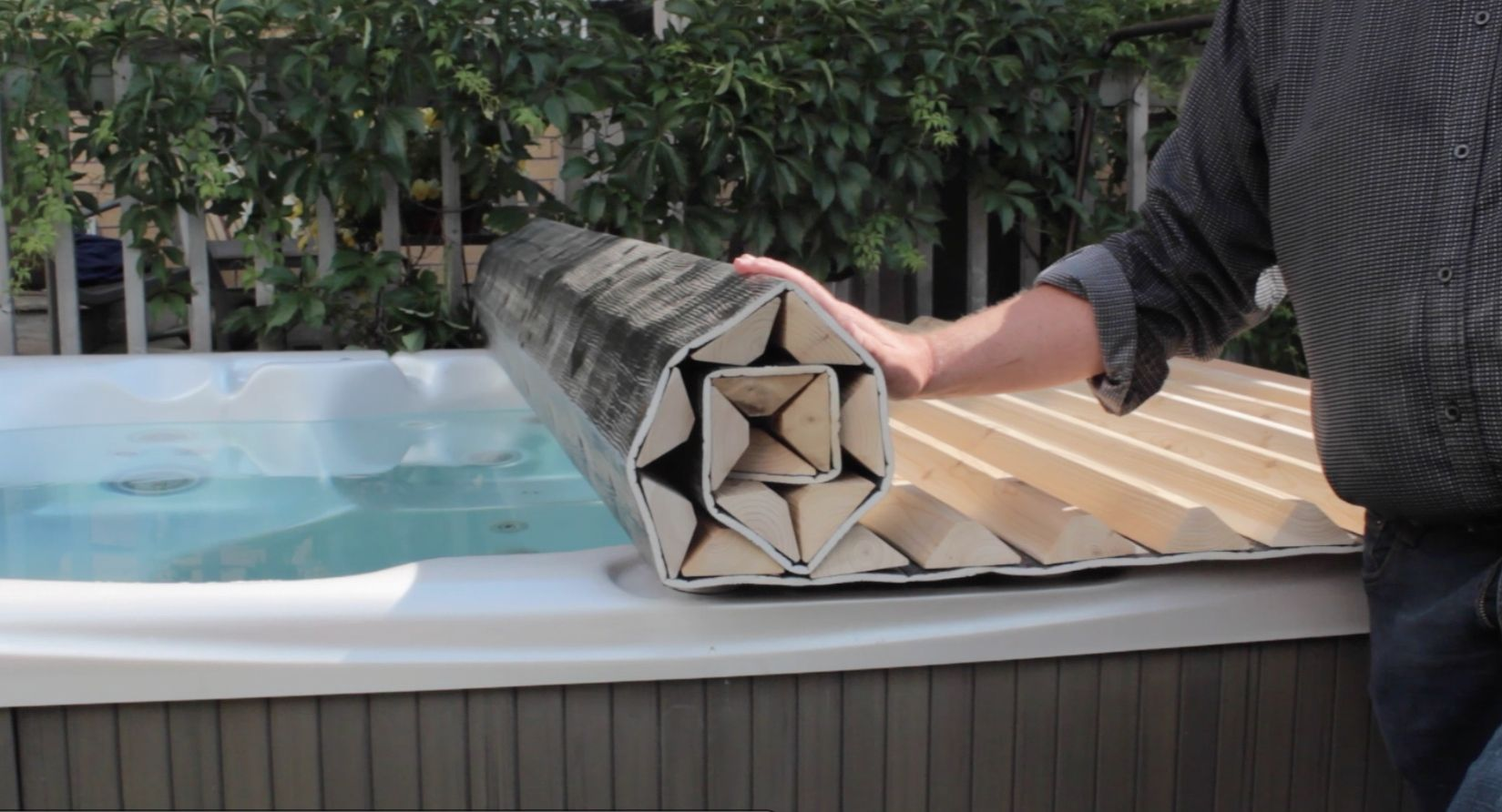 with a custom roll up hot tub cover you do not need a. Black Bedroom Furniture Sets. Home Design Ideas