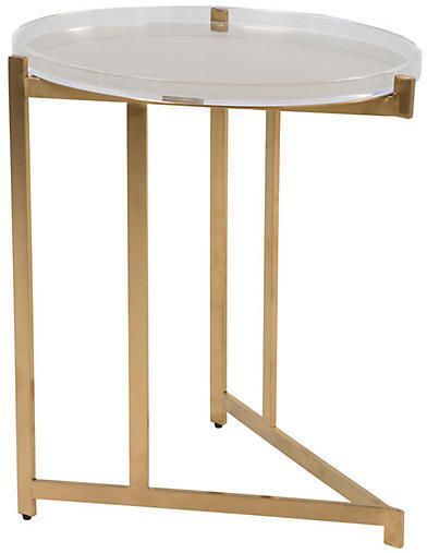 Skylar Acrylic Side Table - Clear/Gold - Gabby