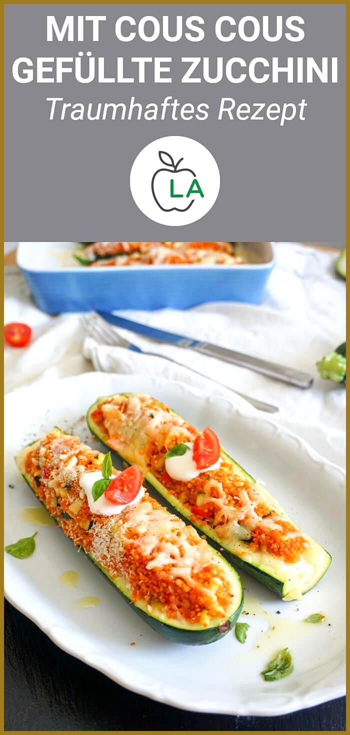 Vegetarisch gefüllte Zucchini mit mediterranem Cous Cous – Fitness Rezept #Cous #Fitness #Gefüllte #...