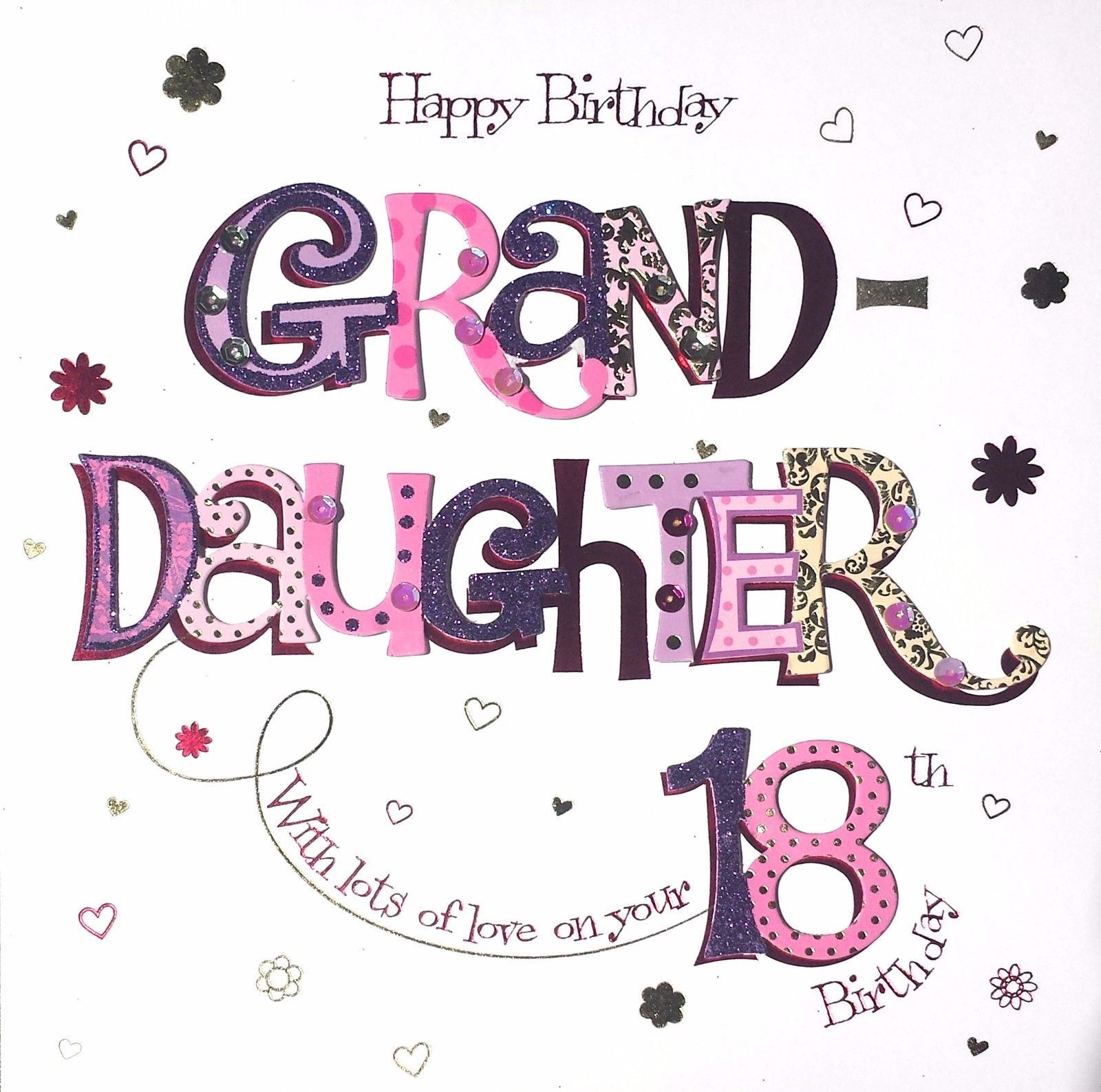 8 49 Gbp Happy Birthday Granddaughter On Your 18th Beautiful Large Hand Finished 18 Card Ebay H 18th Birthday Cards Birthday Wishes Happy Birthday Wishes