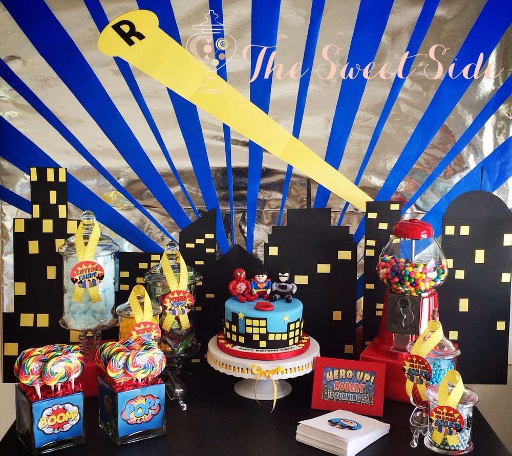 Super Hero Batman Spiderman Superman Birthday Party Ideas Photo 9 Of 12 Superman Birthday Superhero Birthday Party Superman Birthday Party