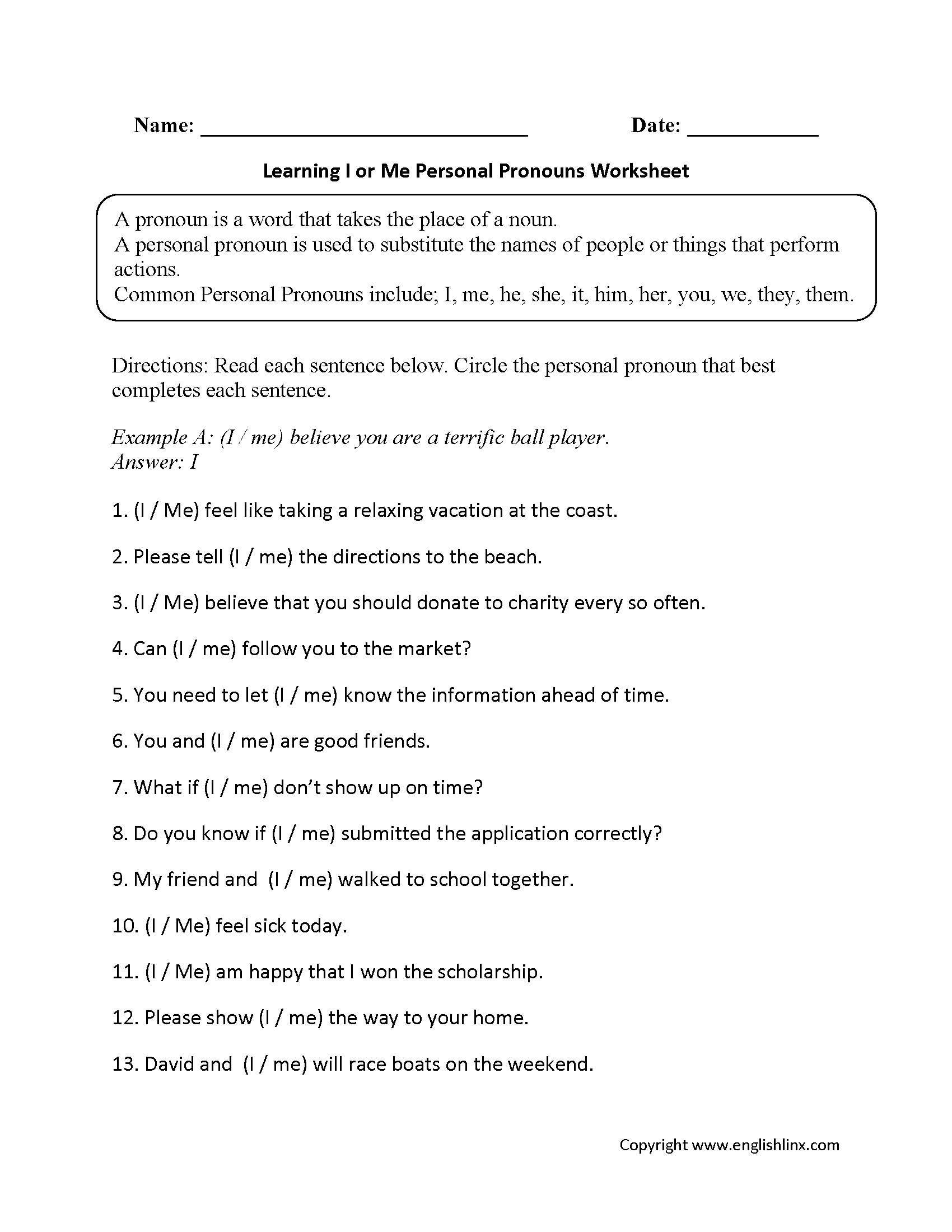 Learning I Or Me Personal Pronouns Worksheets