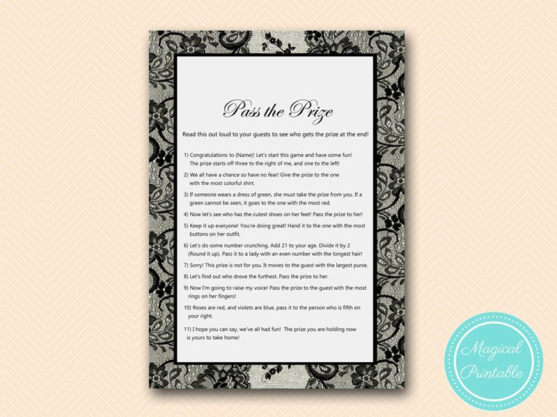 Pass the Prize Pass the Parcel GAme Poem Black by MagicalPrintable ...