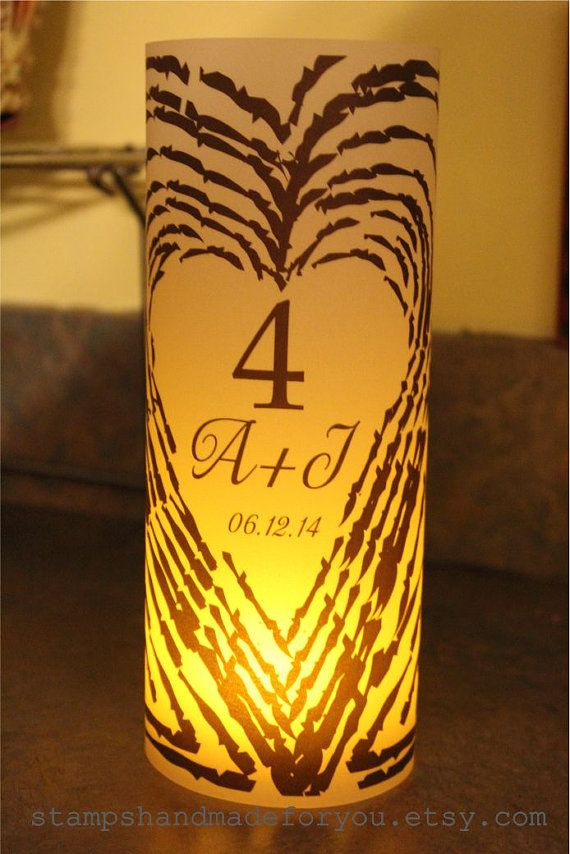 Monogram wood birch Luminary Centerpiece  by stampshandmadeforyou, $27.00