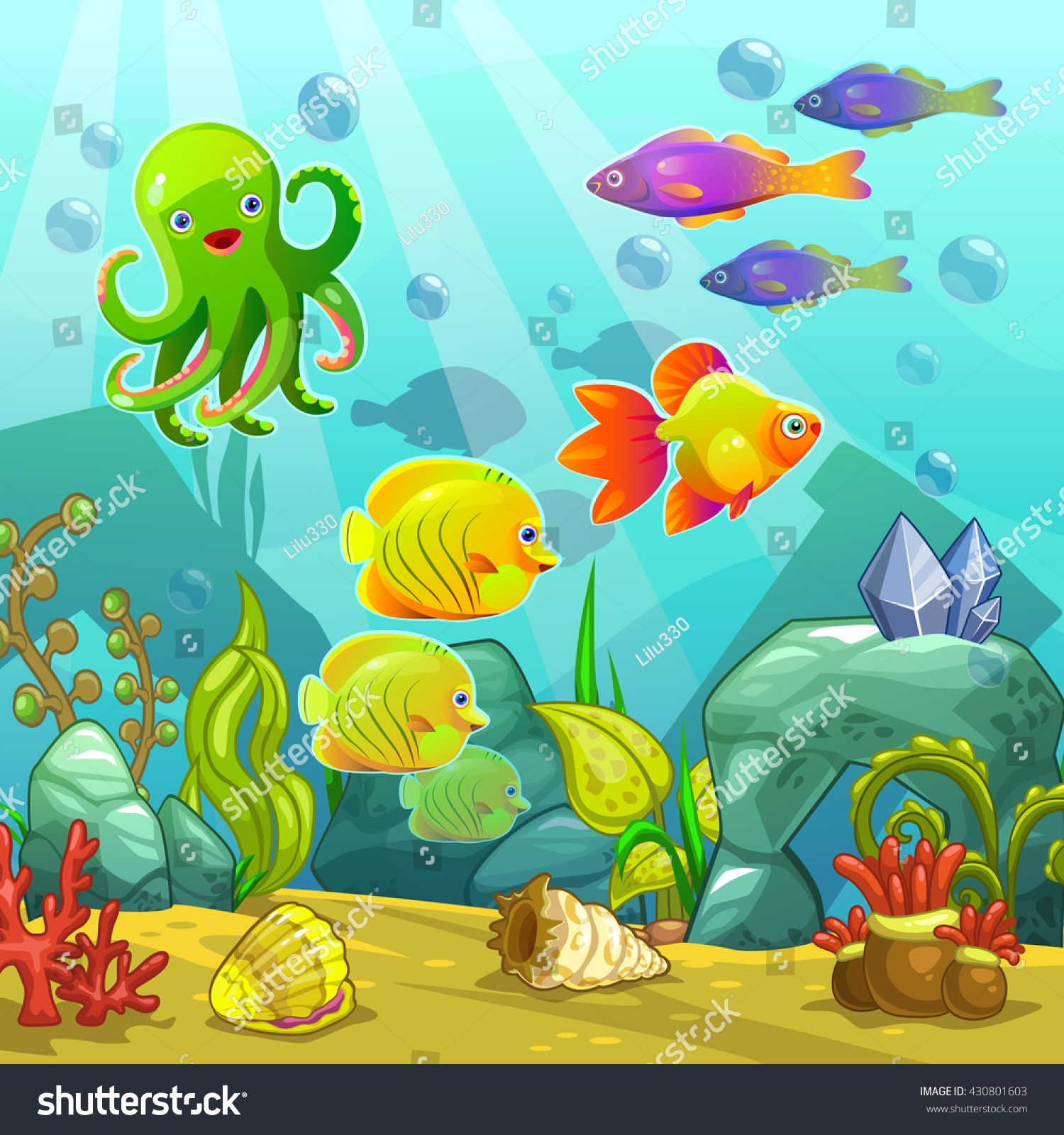 cartoon underwater landscape vector undersea illustration