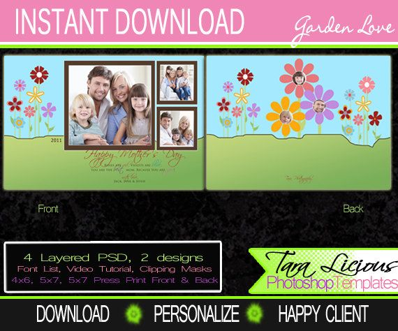 This Fun Scrapbook Like Mothers Day Photoshop Template Is A Great Addition For Professional Photographers Photo Cards Graduation Templates Christmas Templates