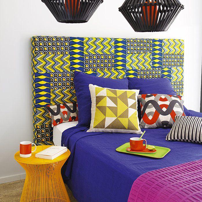 Une t te de lit en tissus africains - Faire une tete de lit en tissus ...