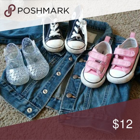 3724e3c19829 Lucky 3 🎲 Bundle of 3 pair of shoes...one jelly sandals from old navy and  2 pairs of converse a low top pink velcro and high top black tie converse  they ...