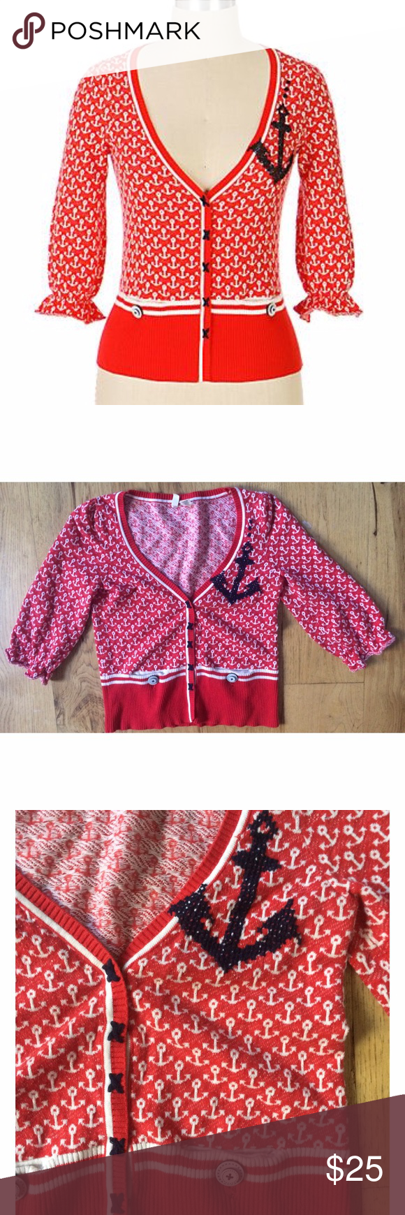 "EUC Anthropologie Moth Sailor Anchors Cardigan In really good pre-loved condition cardigan from Anthropologie Moth in size x-small. Features cute Sailor Anchors Print all over. 100% cotton. Measure about 18"" length, 15"" pit to pit, 14"" sleeves. No snags or major flaws. Snap buttons closured. Run smalls. Best fits for a smaller petite person. ❌No trades or modeling. Open to reasonable offers. Thank you‼️ Anthropologie Sweaters Cardigans"