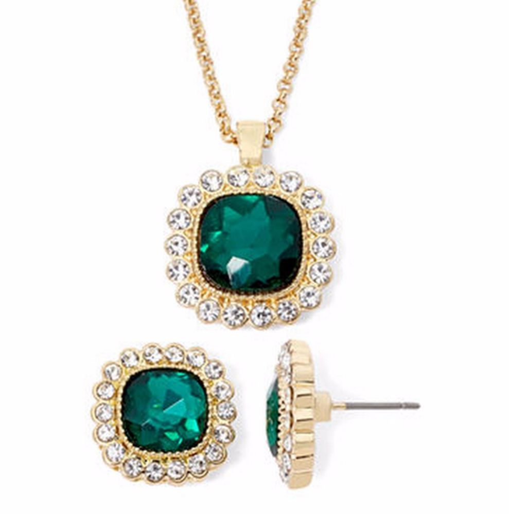 Monet Emerald Colored Halo Necklace Earrings Set Gift Box New