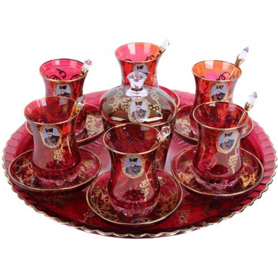 Qajar Style Set Of Decorative Tea Glasses Tray And Sugar Bowl Craftihouse Com Glass Tea Set Persian Tea Tea Glasses