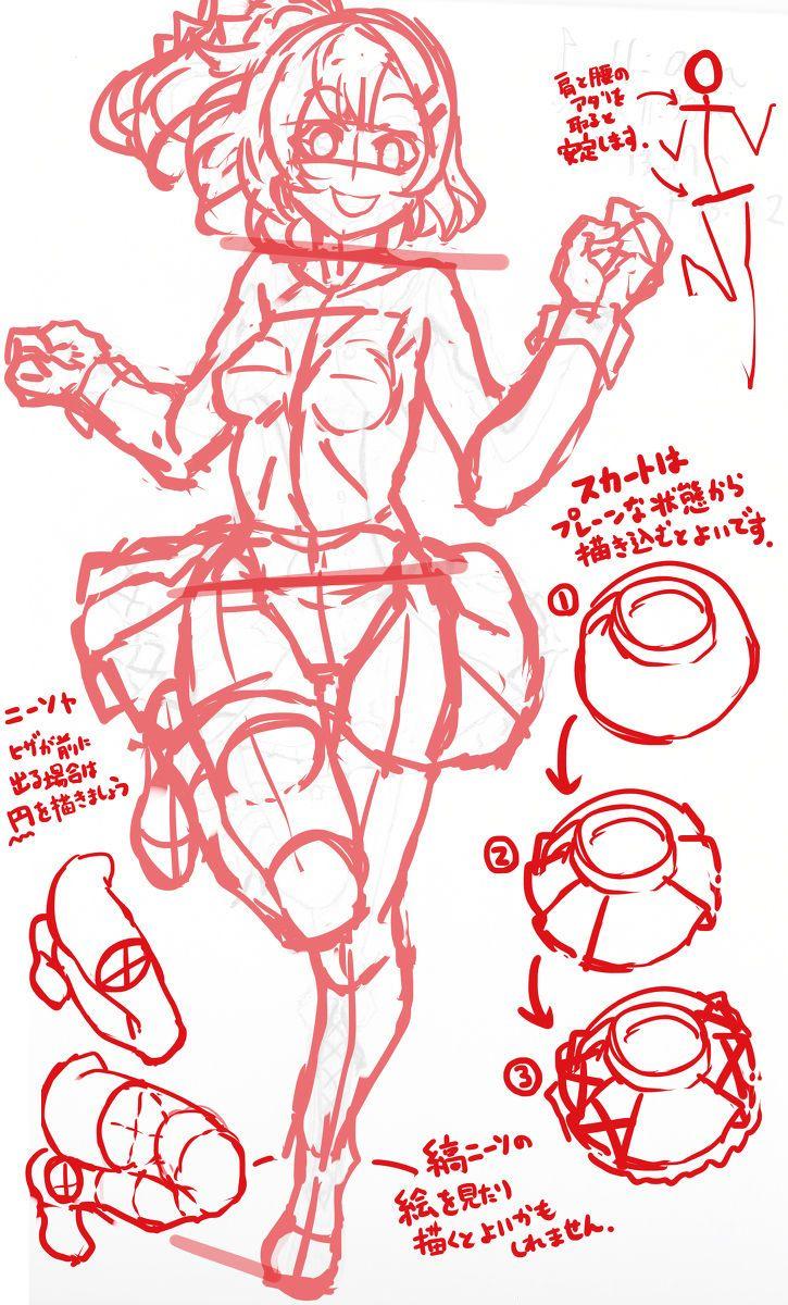 アタリとはキャラクターの顔や体をバランスよく描くため線を引いて