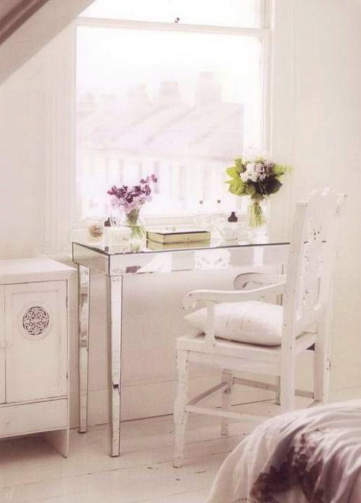 mirrored table, cute arm chair & gorgeous white cabinet