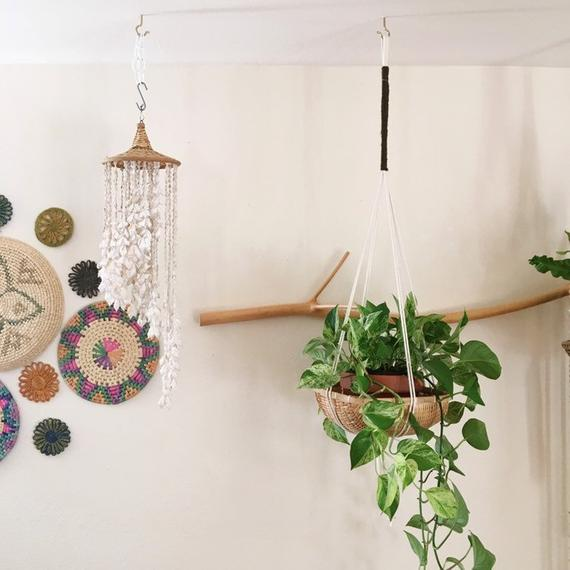Rope Houseplant Hanger With Basket Tear Drop Style Ceiling Plant