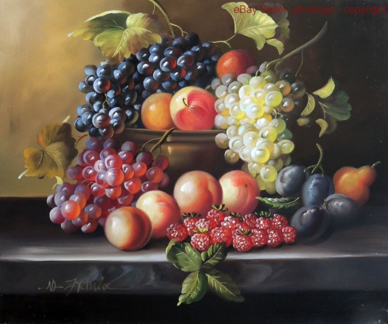 Painting Still Life Fruit Bowl Grapes Peaches Plums Pears Stretched