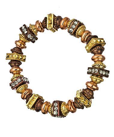 Blu Bijoux Three Gold and Crystal Stretch Bracelet