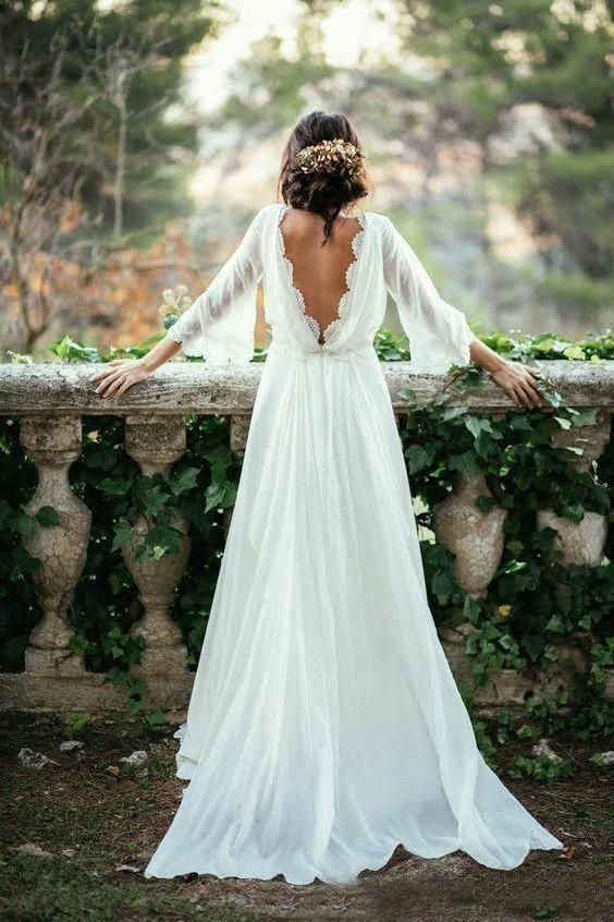 Boho Country Style Boat Neck Wedding Dresses 2019 A Line Chiffon With Lace Long Sleeves Open Back Beach Bridal Gowns Vestidos De by Nikebridalgown, $164.68 USD #weddingdresses #greekweddingdresses