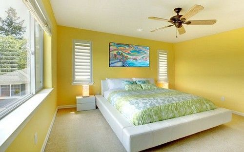 yellow wall paint color ideas for bedroom | bedroom designs