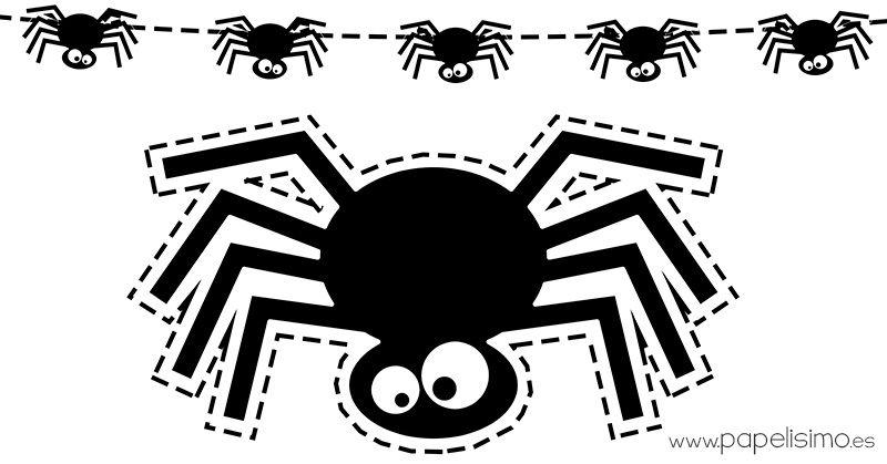 Arañas De Halloween Para Colorear: Plantilla-araña-Halloween-imprimir-y-recortar-guirnalda