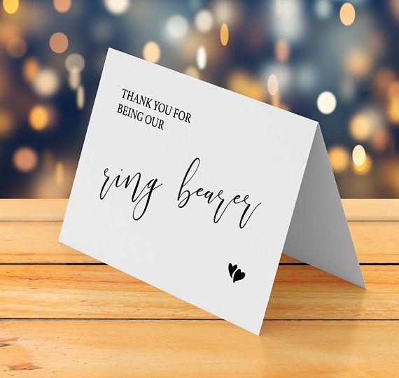 Thank you card wedding printable, Ring security, Ring bearer thank