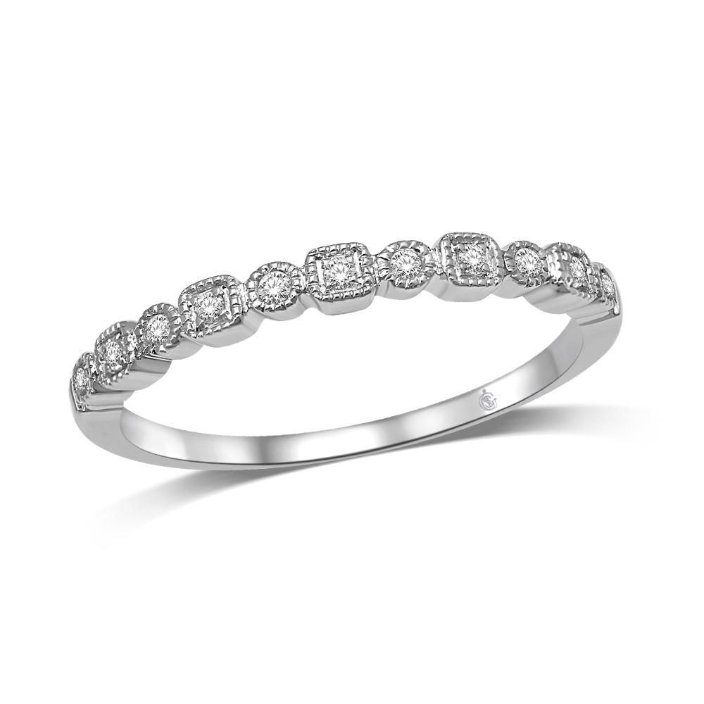 Pearl Fine Jewelry Radient Sterling Silver W/ Rhodium-plated Stackable Polished Diamond Ring 3.5mm