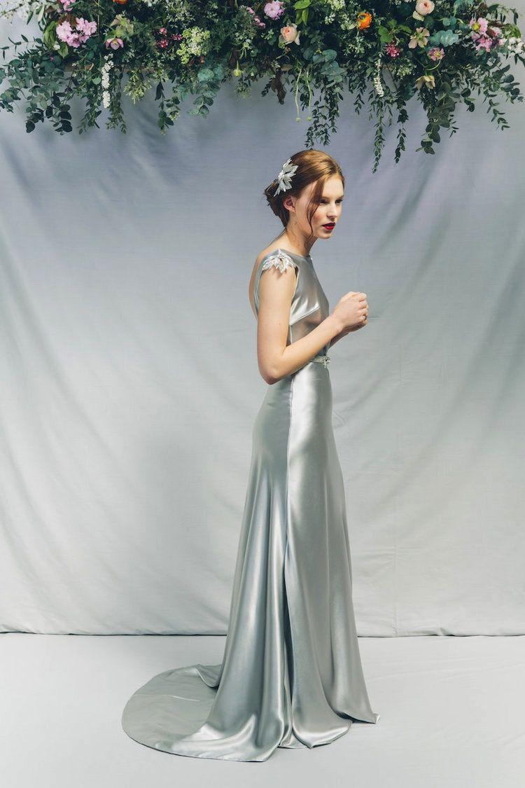 Ice Blue Satin Gown Delphinium By Kate Beaumont Colored Wedding Dress Colored Wedding Dresses Gorgeous Wedding Dress [ 1125 x 750 Pixel ]