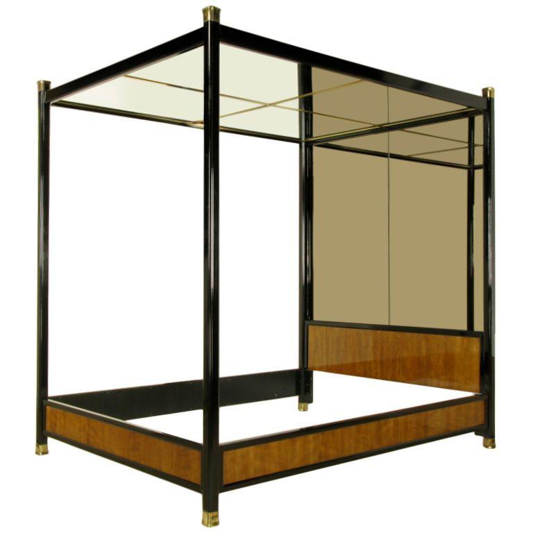 Henredon Mirror Black Lacquer Walnut Queen Canopy Bed From Assemblage Queen Canopy Bed Canopy Bed Diy Mirror Canopy Bed