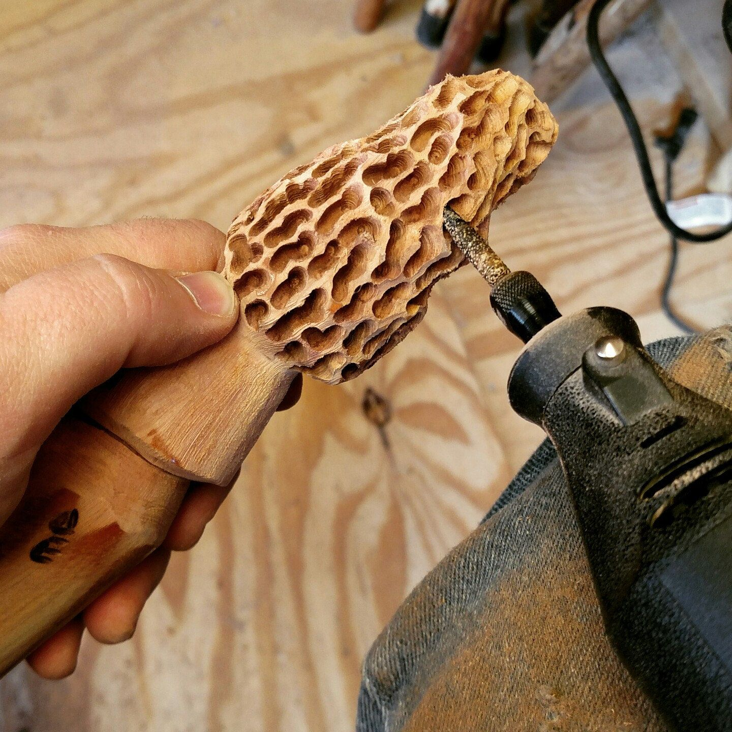 Finishing Touches On This Cedar Morel Walking Stick