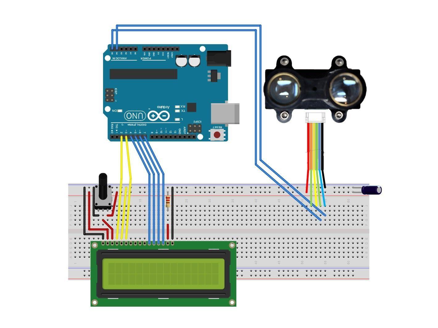 LiDARLite Module Arduino, Solderless breadboard, Laser