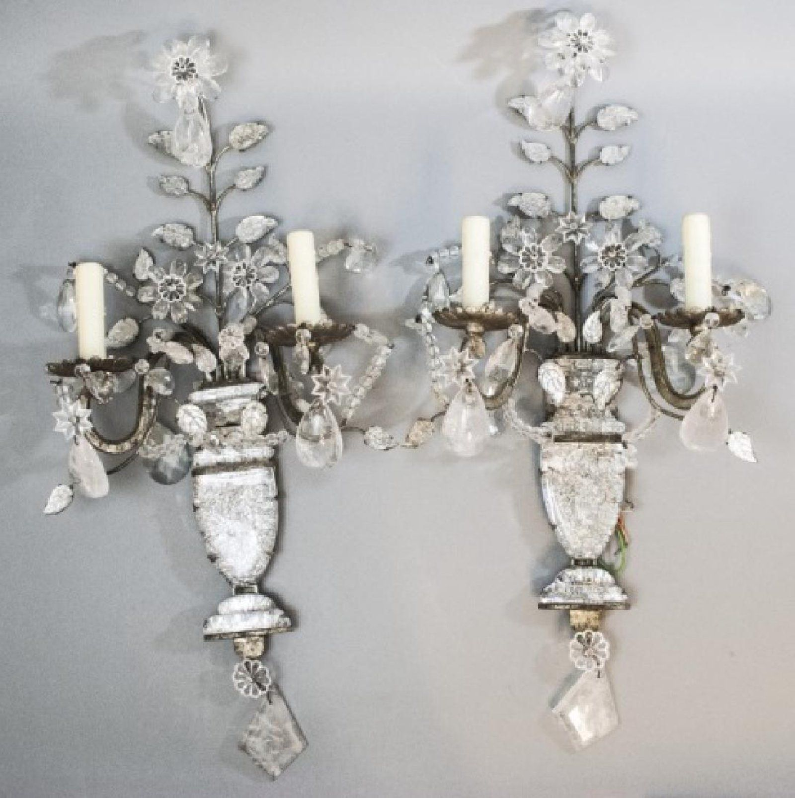 Pair French Bagues Style Rock Crystal Wall Sconces With Images