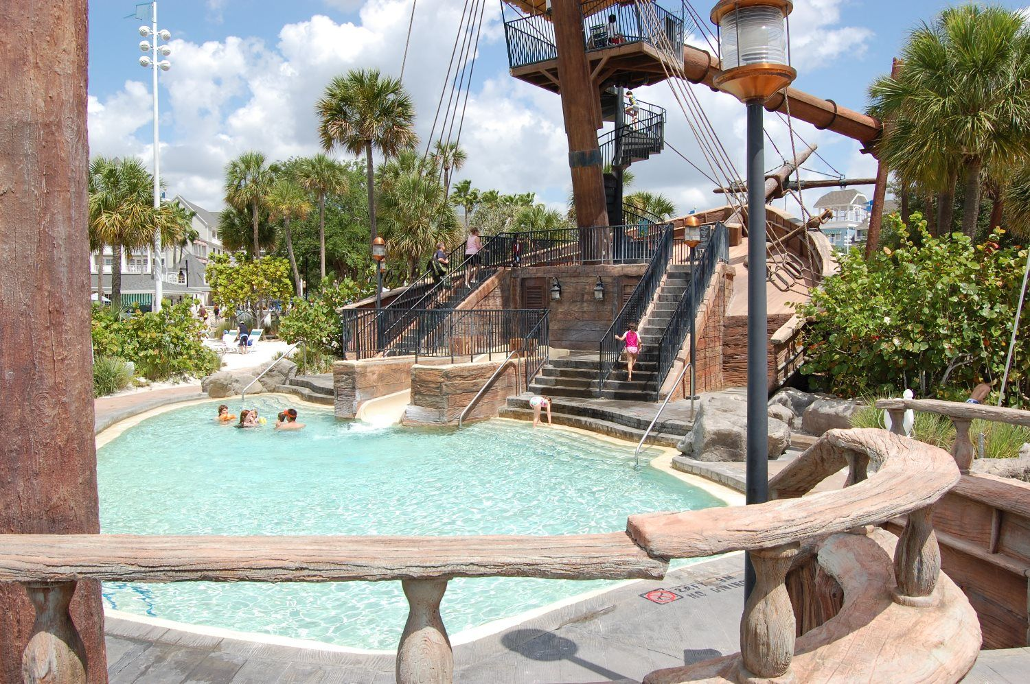 Disney S Beach Club Storm Along Bay Shallow Pool With Kid Slide And Feature Water