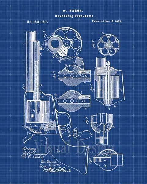 Patente la impresión de un revólver de Mason de 1875 Blueprints - new blueprint gun art