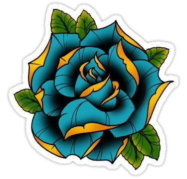 Neotraditional Rose In Blue Sticker Traditional Rose Tattoos