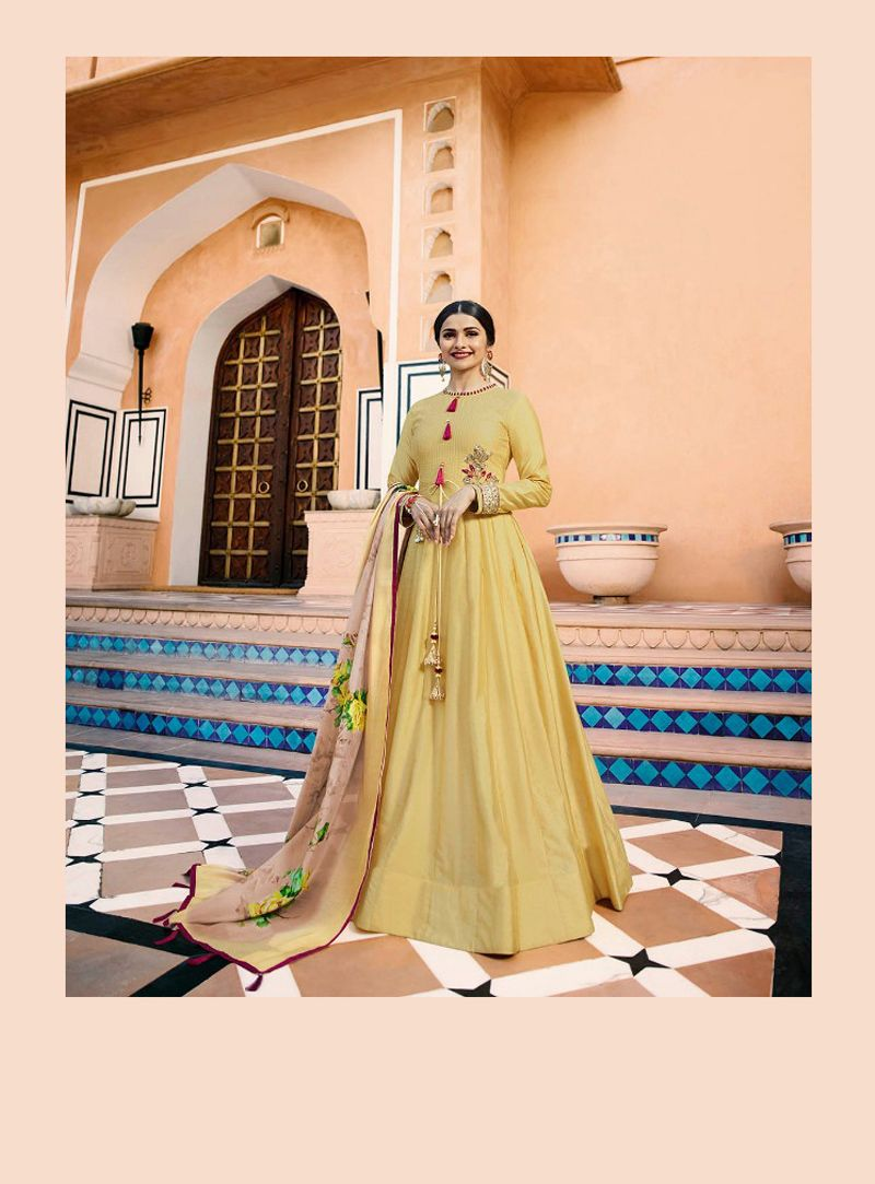91da79cd9f4 Buy Prachi Desai Yellow Silk Readymade Anarkali Suit 133526 online at  lowest price from huge collection of salwar kameez at Indianclothstore.com.